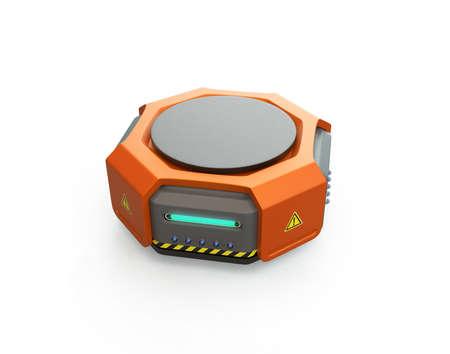 白地にオレンジの倉庫ロボット。3 D レンダリング イメージ。 写真素材