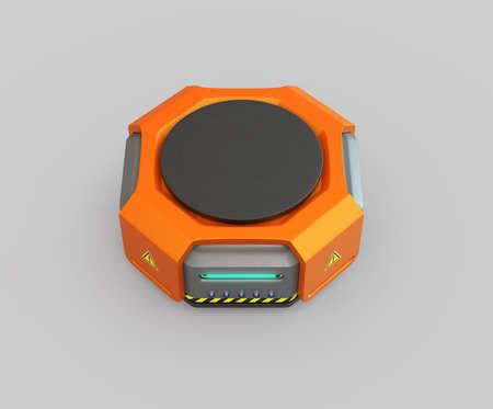 灰色の背景にオレンジ色の倉庫ロボット。3 D レンダリング イメージ。 写真素材
