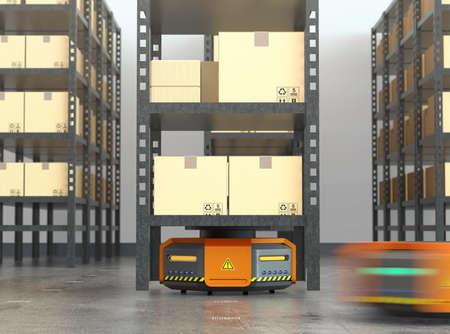 オレンジ色のロボットが近代的な倉庫で商品のパレットを運ぶします。 近代的な配送センターのコンセプト。3 D レンダリング イメージ。