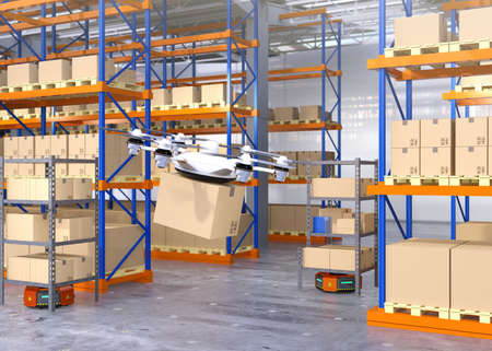 Drone and orange robots in modern warehouse. Advanced warehouse robotics technology concept. 3D rendering image.