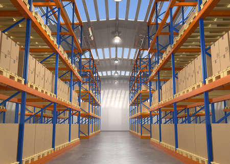 Empty modern warehouse. 3D rendering image.