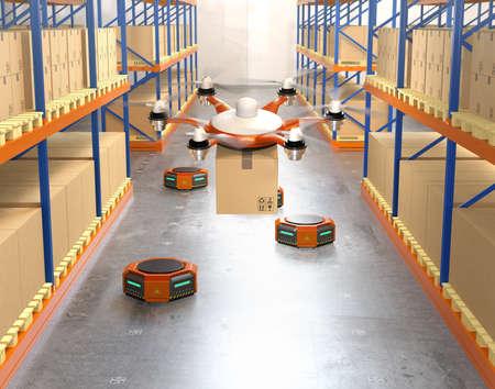 Robots drone et orange dans un entrepôt moderne. Concept avancé de la technologie de la robotique d'entrepôt. Image de rendu 3D. Banque d'images - 77950266
