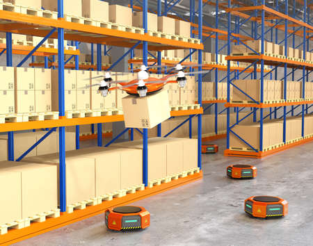 fulfilment: Drone and orange robots in modern warehouse. Advanced warehouse robotics technology concept. 3D rendering image.