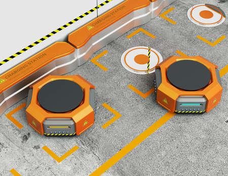fulfilment: Warehouse robots charging at charging station. Advanced warehouse robotics technology concept. 3D rendering image.