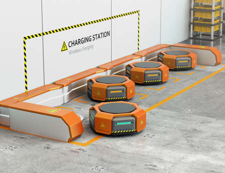 Warehouse robots charging at charging station. Advanced warehouse robotics technology concept. 3D rendering image.