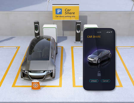 共有駐車場と共有のためのスマート フォン アプリ。車共有アプリを使用して、車のロックを解除します。3 D レンダリング イメージ。