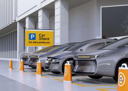 Vloot van autonome voertuigen op parkeerplaats om te delen. Auto delen bedrijfsconcept. 3D-rendering afbeelding. Stockfoto
