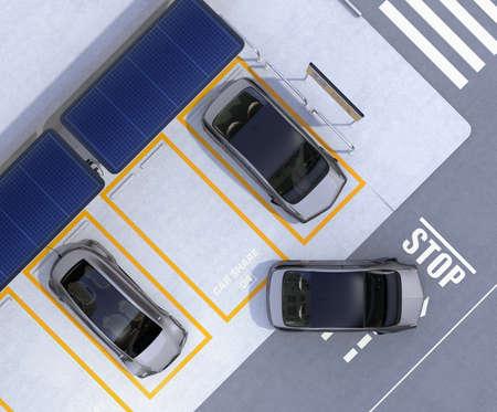 Luchtmening van parkeerterrein voor auto die zaken deelt. Elektrische auto's laden op laadstation en worden aangedreven door zonnepaneel. 3D-rendering afbeelding.