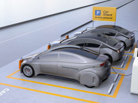 lease: Side view of self driving car available for sharing. Car sharing business concept. 3D rendering image. Stock Photo