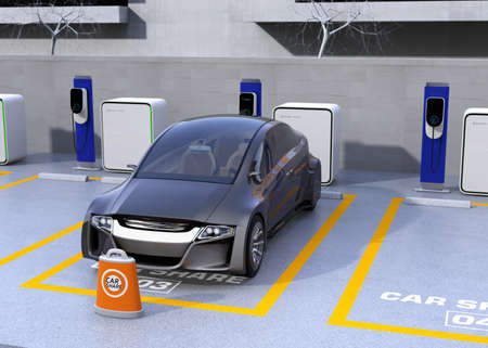 lease: Autonomous vehicle in parking lot for sharing. Car sharing business concept. 3D rendering image.