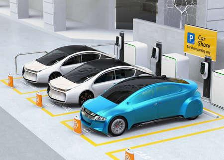 Vehículos autónomos en estacionamiento para compartir. Coche compartiendo concepto de negocio. Imagen de representación 3D.