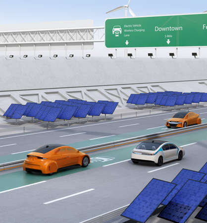 Electric cars driving on the wireless charging lane of the highway.  Solar panel station on the roadside. 3D rendering image.