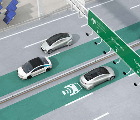 Electric cars driving on the wireless charging lane of the highway.  Solar panel station and wind turbine on the roadside. 3D rendering image.
