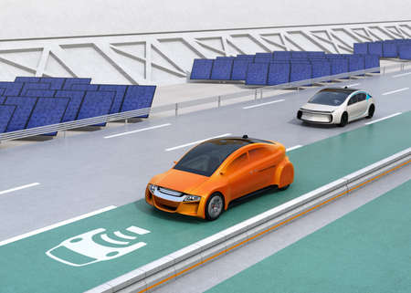 Electric car driving on the wireless charging lane of the highway.  Solar panel station on the roadside. 3D rendering image. Stock Photo