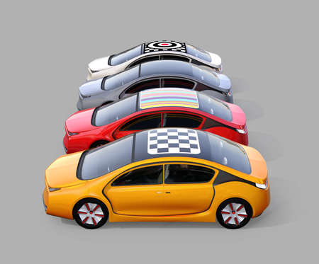 Colorful electric cars isolated on gray background. 3D rendering image.
