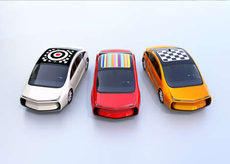 Front view of colorful electric cars with graphic pattern on the roof. 3D rendering image.