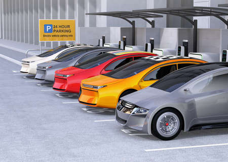 Electric cars charging at EV charging station. Cars roof with colorful graphic design. 3D rendering image.