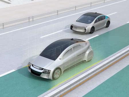 Lane keeping assist function concept for autonomous vehicle. 3D rendering image.