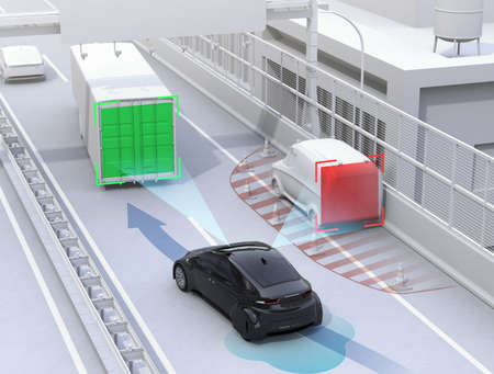 emergency braking: Autonomous car changing lane quickly to avoid a traffic accident. Concept for driver assistance systems. 3D rendering image.