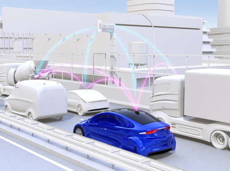 Cars sharing traffic information by connected car function. 3D rendering image. Фото со стока