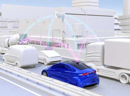 Voiture qui partage les informations routières par la fonction de voiture connectée. Image de rendu 3D.