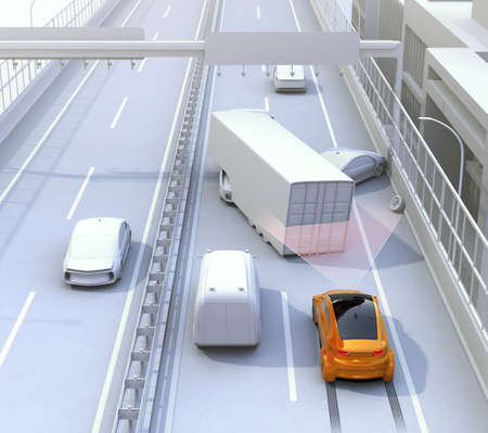 emergency braking: Automatic braking system avoid car crash from car accident. Concept for driver assistance systems. 3D rendering image.