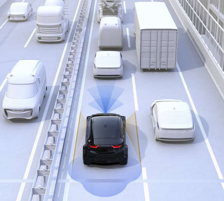 Driver assistance systems ( Automatic braking, lane keeping function etc.) for autonomous car. 3D rendering image.