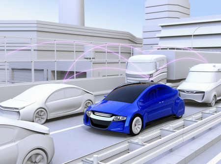 Cars sharing traffic information by connected car function. 3D rendering image. Stock Photo