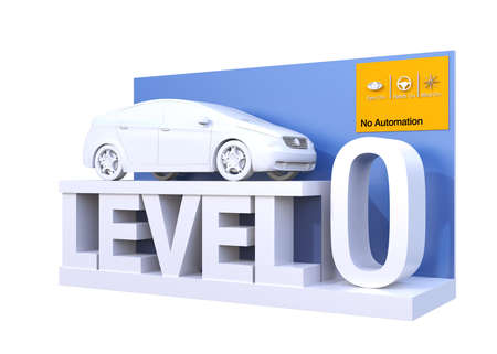 Autonomous car classification of level 0. 3D rendering image.