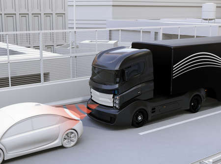 Automatic braking system avoid car crash from car accident. Concept for driver assistance systems. 3D rendering image.