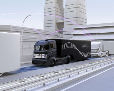 A fleet of autonomous truck driving on highway. Connected cars concept. 3D rendering image.