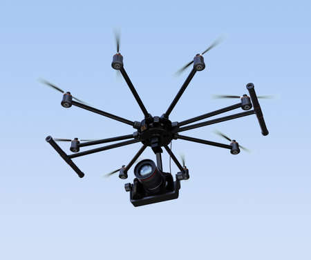 Octocopter flying in the sky. 3D rendering image