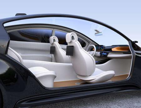Autonomous car interior concept.  3D rendering image.