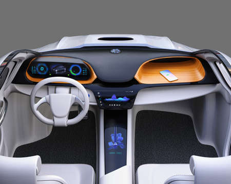 Electric car dashboard concept. Smart phone charging on the wooden tray by wireless charging unit. 3D rendering image.