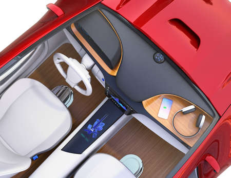 Top view of electric car interior. Smart phone charging on the dashboard by wireless charging unit. 3D rendering image.