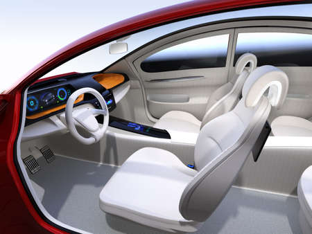 自律車インテリアのコンセプト。3 D レンダリング イメージ。