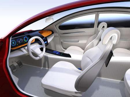 Autonome auto interieurconcept. 3D-rendering afbeelding. Stockfoto