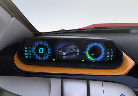 Closeup view of digital speedometer on wooden tray. Electric car's dashboard concept. 3D rendering image. Original design.