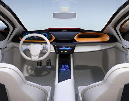Autonome auto interieurconcept. Het middelste aanraakscherm geeft muziekafspeellijst weer en navigatiekaart op bestuurderszijde. 3D-rendering afbeelding.