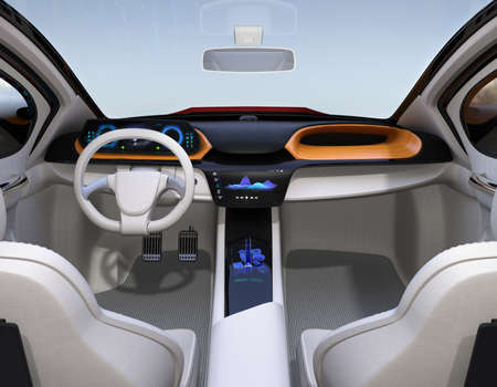 Autonomous car interior concept. The center touch screen display music playlist, and navigation map on driver side screen. 3D rendering image. Banque d'images