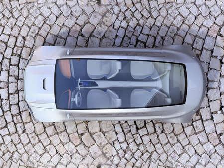sunroof: Top view of autonomous car on cobblestone ground. 3D rendering image.