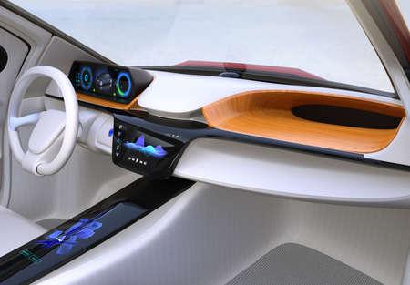Autonoom auto interieur concept. Het middelste aanraakscherm toont muziek afspeellijst en navigatiekaart op het stuurprogramma's zijscherm. 3D-rendering afbeelding. Stockfoto