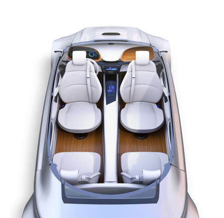Cutaway autonomous cars interior. Front seats turned around and passengers can relaxing or working when they driving.  3D rendering image. Фото со стока