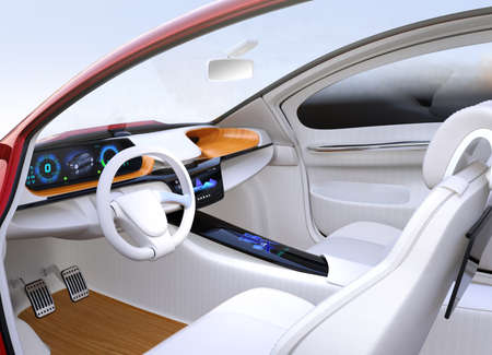 Autonomous car interior concept. The center touch screen display music playlist, and navigation map on driver side screen. 3D rendering image. Stock Photo