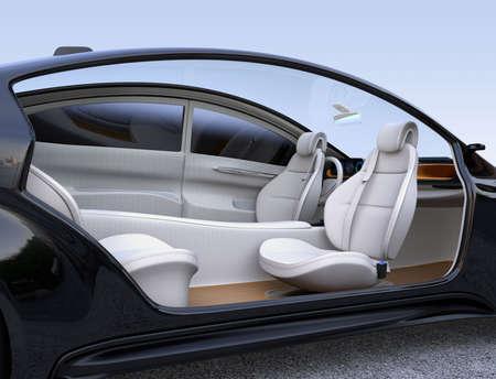 자율적 인 자동차 인테리어 개념입니다. 운전석에서 앞 좌석이 돌아 서고 승객은 편안히 쉬거나 일할 수 있습니다. 3D 렌더링 이미지입니다.