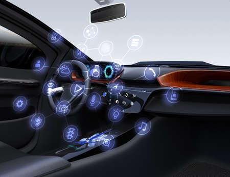 자율적 인 자동차 인테리어입니다. 연결 된 자동차 아이콘입니다. 사물의 인터넷 개념입니다. 3D 렌더링 이미지입니다.