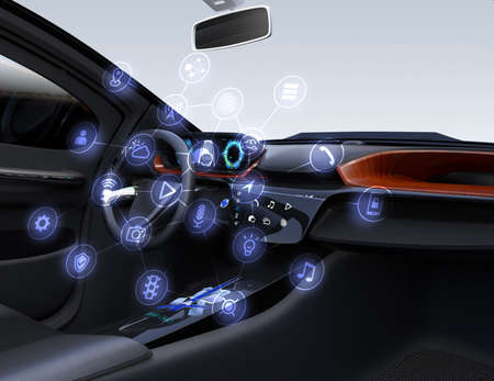 Interior del automóvil autónomo. Iconos del coche conectado. Internet del concepto de cosas. Imagen de renderizado 3D. Foto de archivo
