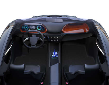 Front view of autonomous car interior. The center touch screen display music playlist, and navigation map on driver side screen. 3D rendering image. 版權商用圖片