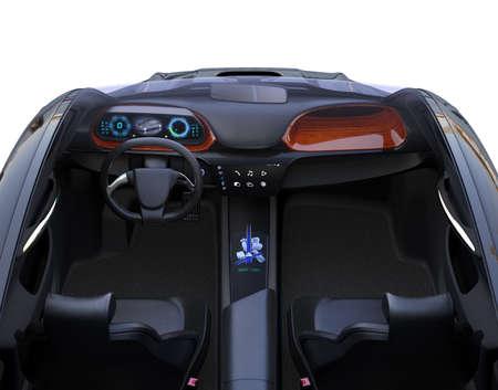 Vooraanzicht van autonoom autobinnenland. Het middelste aanraakscherm geeft muziekafspeellijst weer en navigatiekaart op bestuurderszijde. 3D-rendering afbeelding.
