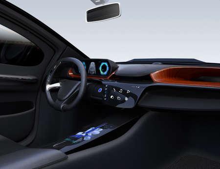 Autonome auto interieurconcept. Platte multimediapictogrammen op het aanraakscherm van het midden. 3D-rendering afbeelding.